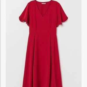 H&M fit and flare red dress